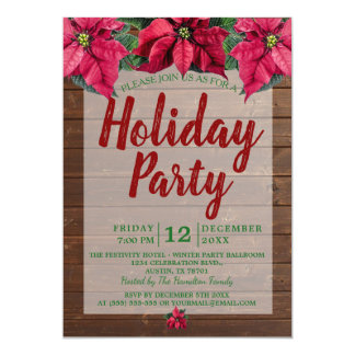 Rustic Wood Red and Green Poinsettia Holiday Party