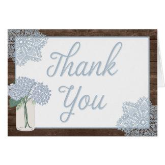 Rustikales hölzernes Weckglas danken Ihnen zu Mitteilungskarte