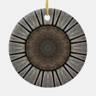 Rustikales industrielles Mandala-Kaleidoskop Rundes Keramik Ornament