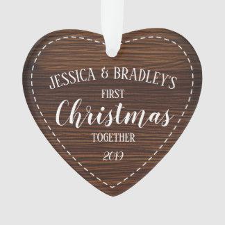 Rustikales Land-erstes Weihnachten zusammen Ornament