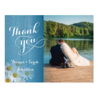 Rustikales Land-Hochzeits-Foto danken Ihnen Postkarte