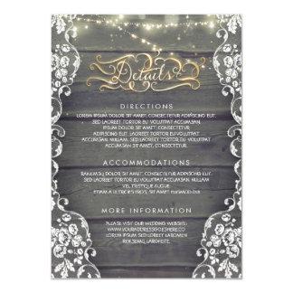 Rustikales Land-hölzerne Hochzeits-Details - 11,4 X 15,9 Cm Einladungskarte