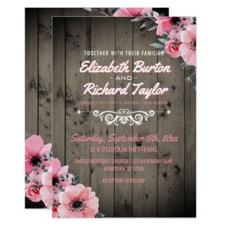 Rustikales Land hölzerne rosa BlumenBoho Hochzeit 12,7 X 17,8 Cm Einladungskarte