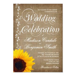 Rustikales Land-lädt Vintage Sonnenblume-Hochzeit Karte