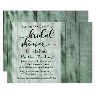 Rustikales Land-lässiges altes grünes hölzernes 12,7 X 17,8 Cm Einladungskarte
