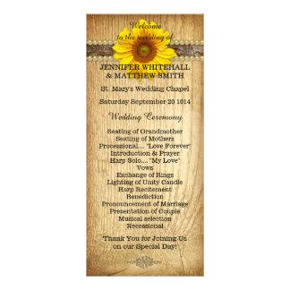 Rustikales Land-Sonnenblume-Hochzeits-Programm Werbekarte