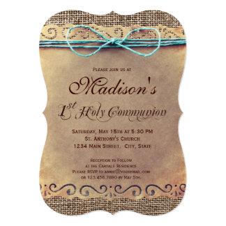 Rustikales Land-Vintage 1. Kommunions-Einladungen Karte