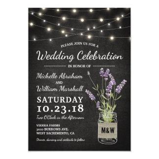 Rustikales Lavendel-Weckglas beleuchtet Hochzeit 12,7 X 17,8 Cm Einladungskarte