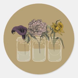 Rustikales Maurer-Glas mit Blumen-runden Runder Aufkleber