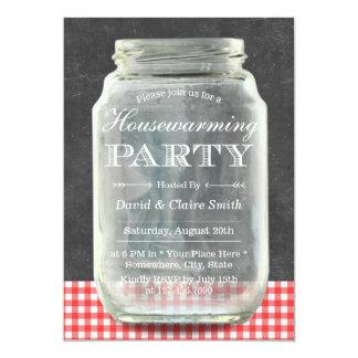 Rustikales Maurer-Glas-Tafelhousewarming-Party 12,7 X 17,8 Cm Einladungskarte