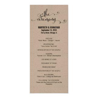 Rustikales modernes Script wir Hochzeits-Programm Karte