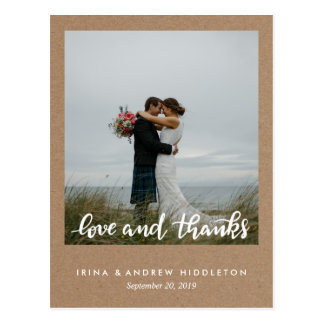 Rustikales Packpapier-Liebe-und Dank-Skript-Foto Postkarte