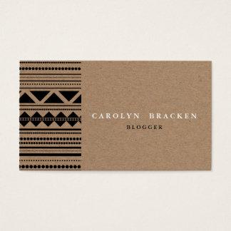 Rustikales Packpapier-Stammes- aztekisches Muster Visitenkarte