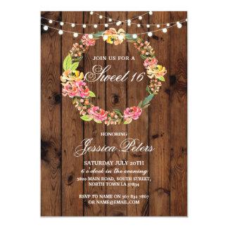 Rustikales Partyladen Blumenwreath-Blumen des 12,7 X 17,8 Cm Einladungskarte