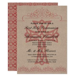 Rustikales Rosa-erste heilige 14 X 19,5 Cm Einladungskarte