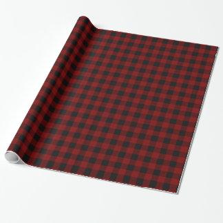 Rustikales roter und schwarzer Büffel-kariertes Geschenkpapier