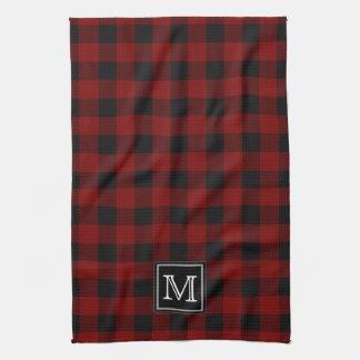 Rustikales roter und schwarzer Büffel-kariertes Handtuch