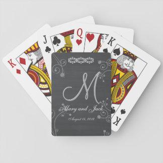 Rustikales schwarzes Monogramm der Kreide-Tafel-3d Spielkarte