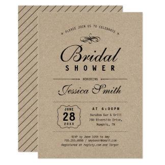 Rustikales Schwarzes u. elegantes Brautparty Karte