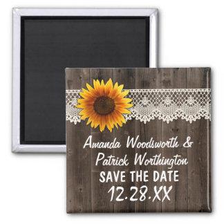 Rustikales Sonnenblume-Scheunen-Holz und Spitze Quadratischer Magnet