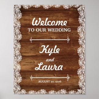 Rustikales Spitze-und Holz-Hochzeits-Plakat Poster