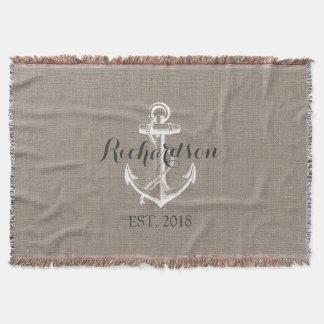 Rustikales Vintages Anker-Hochzeits-Monogramm Decke
