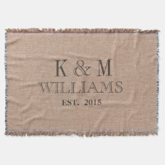 Rustikales Vintages Hochzeits-Monogramm-Andenken Decke