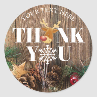 Rustic Christmas Thank You Deer and Snowflake