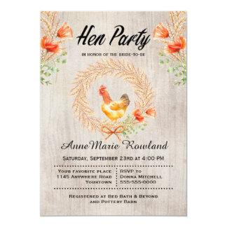 Rustikales Weizenwreath-und Mohnblumen-Henne-Party 12,7 X 17,8 Cm Einladungskarte
