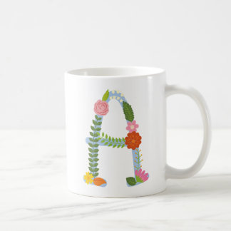 Rustikales wunderliches Blumen-Monogramm (a) Kaffeetasse