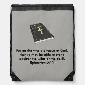 Rüstung des Gottdrawstring-Rucksacks mit Bibel Turnbeutel