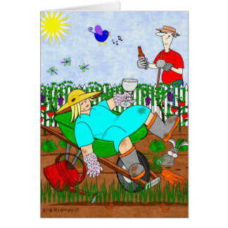 Ruthie und Ralphie entspannen sich im Garten - Grußkarte
