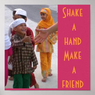 Rütteln Sie eine Hand, machen Sie einen Freund Poster