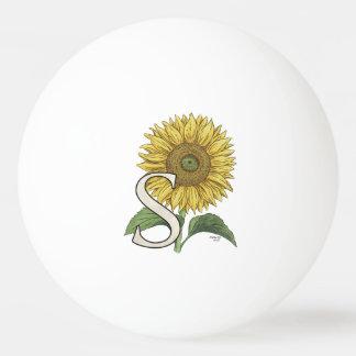 S für Sonnenblume-Blumenalphabet-Monogramm Tischtennis Ball