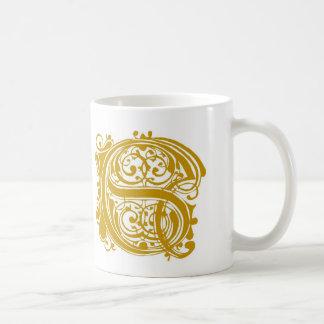 S-Monogramm-Hochzeits-GoldTassenschalen und Steins Kaffeetasse
