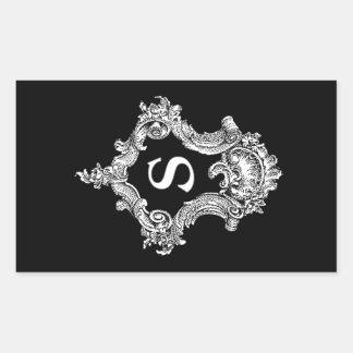 S-Monogramm-Initiale Rechteckiger Aufkleber