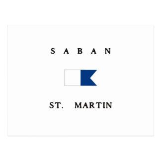 Saban St Martin Alphatauchen-Flagge Postkarte