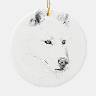 Säbel ein sibirischer Schlittenhund, der Keramik Ornament