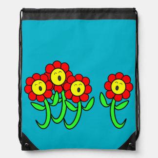 sac à dos de cordon avec des fleurs de chant