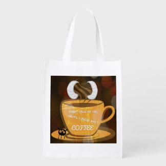 sac à provisions de café de monstre sacs d'épicerie réutilisables
