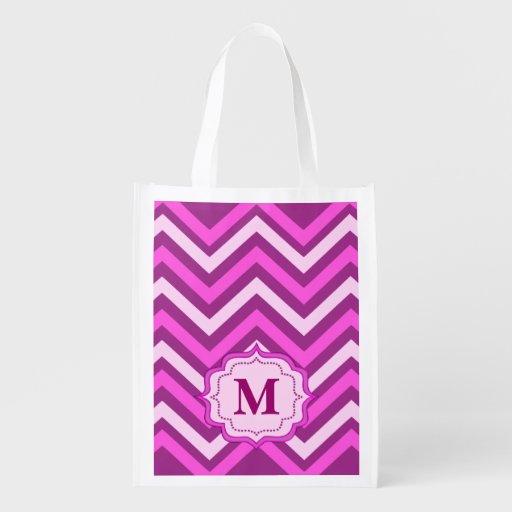 sac à provisions rose de chevron, monogramme cabas épicerie