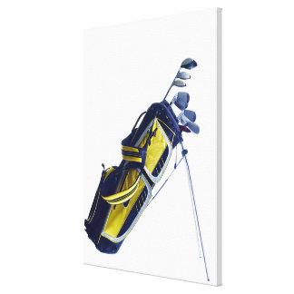 Sac de golf avec des clubs sur l'arrière - plan bl toiles tendues sur châssis