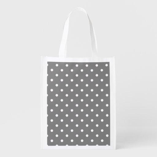 Sac d'épicerie réutilisable gris de point de polka