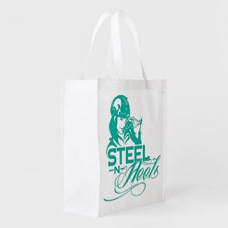 Sac fourre-tout se pliant par les talons en acier sacs d'épicerie réutilisables