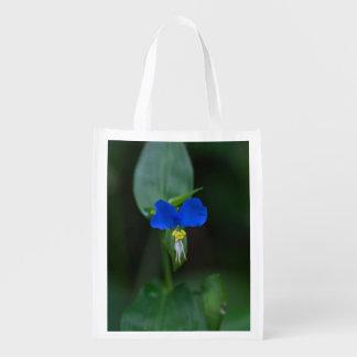 Sac réutilisable de fleur sauvage bleu asiatique sacs d'épicerie réutilisables