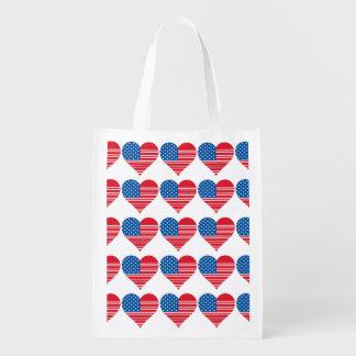 Sac réutilisable en forme de coeur de drapeau sac d'épicerie