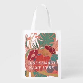 Sac réutilisable floral personnalisé par sacs d'épicerie