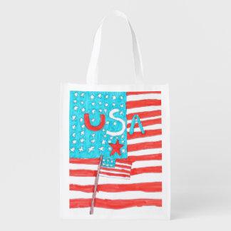 Sac réutilisable patriotique sacs d'épicerie réutilisables