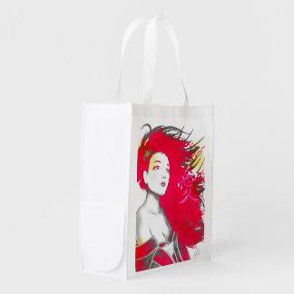 Sac réutilisable rose de geisha sac réutilisable d'épcierie