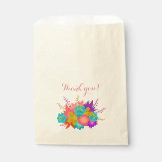 Sachets En Papier Sac avec les fleurs et le texte : Merci !